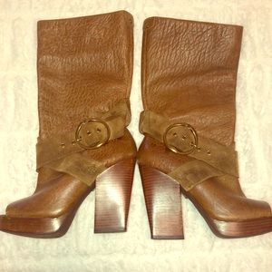 Lucky brand leather open toe boots